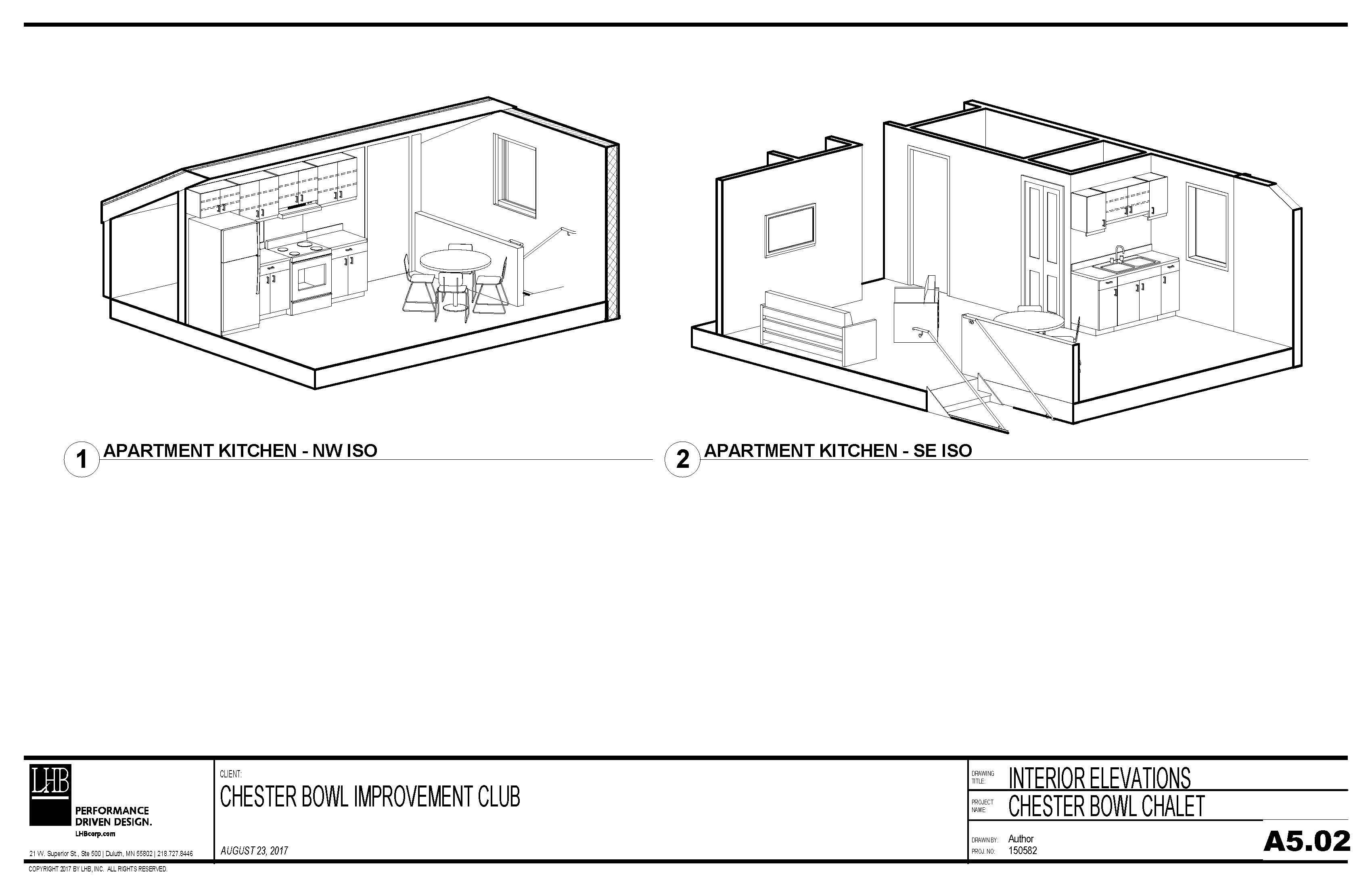Draft plans for the apartment in the Thom Storm Chalet.