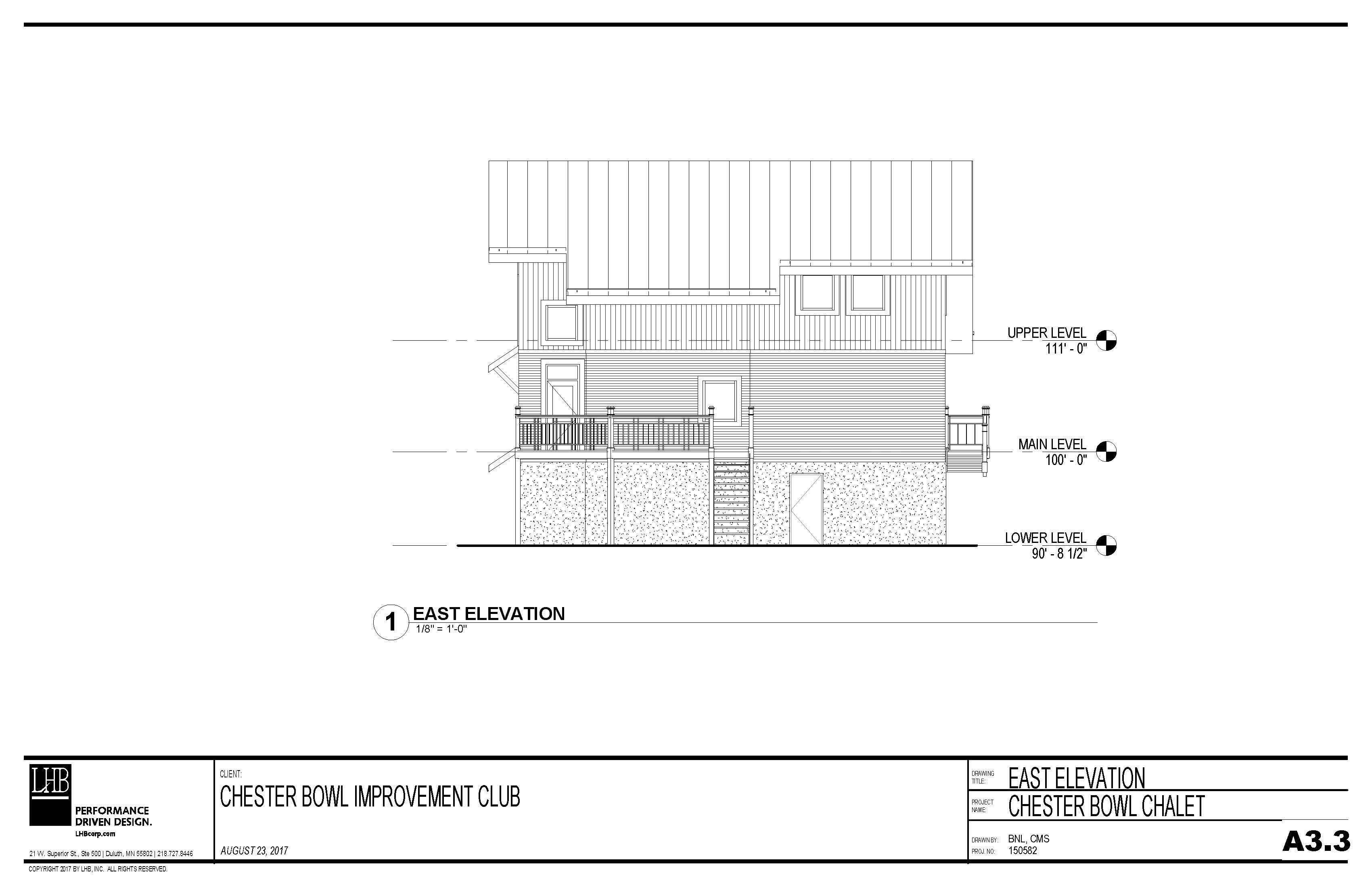 Draft plans for the exterior east elevation of the Thom Storm Chalet.
