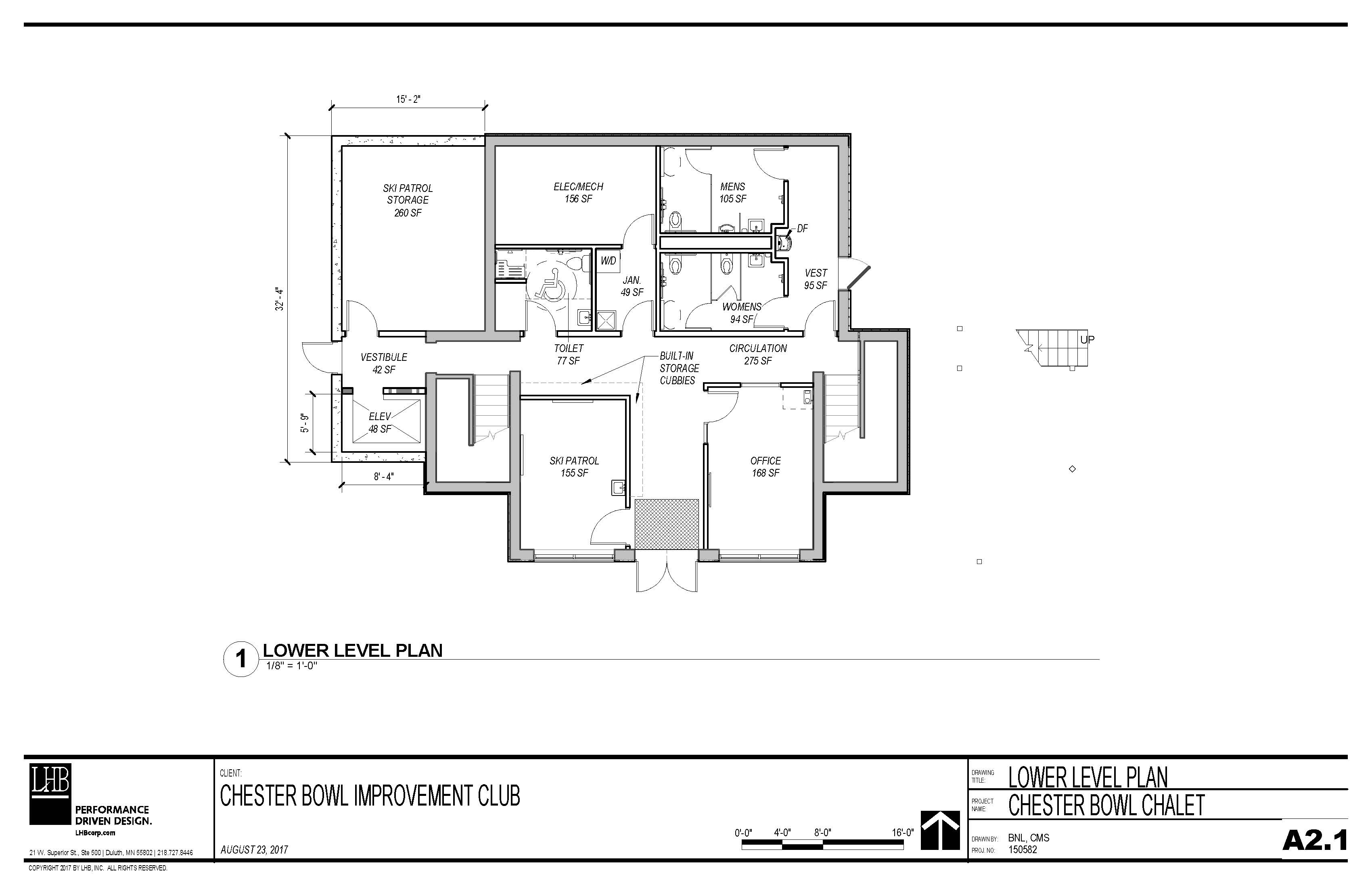 Draft plans for the lower level of the Thom Storm Chalet.