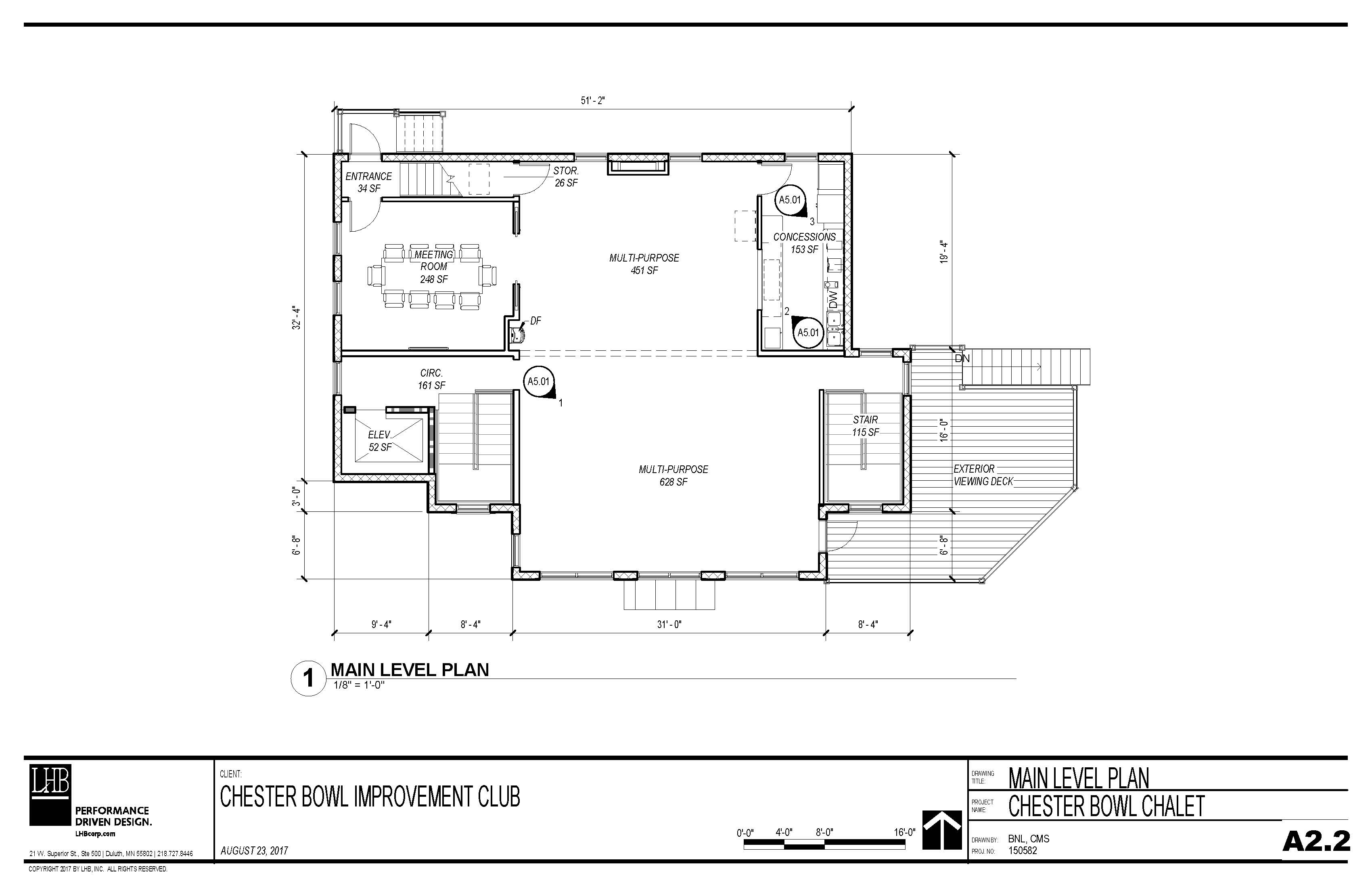 Draft plans for the main level of the Thom Storm Chalet.