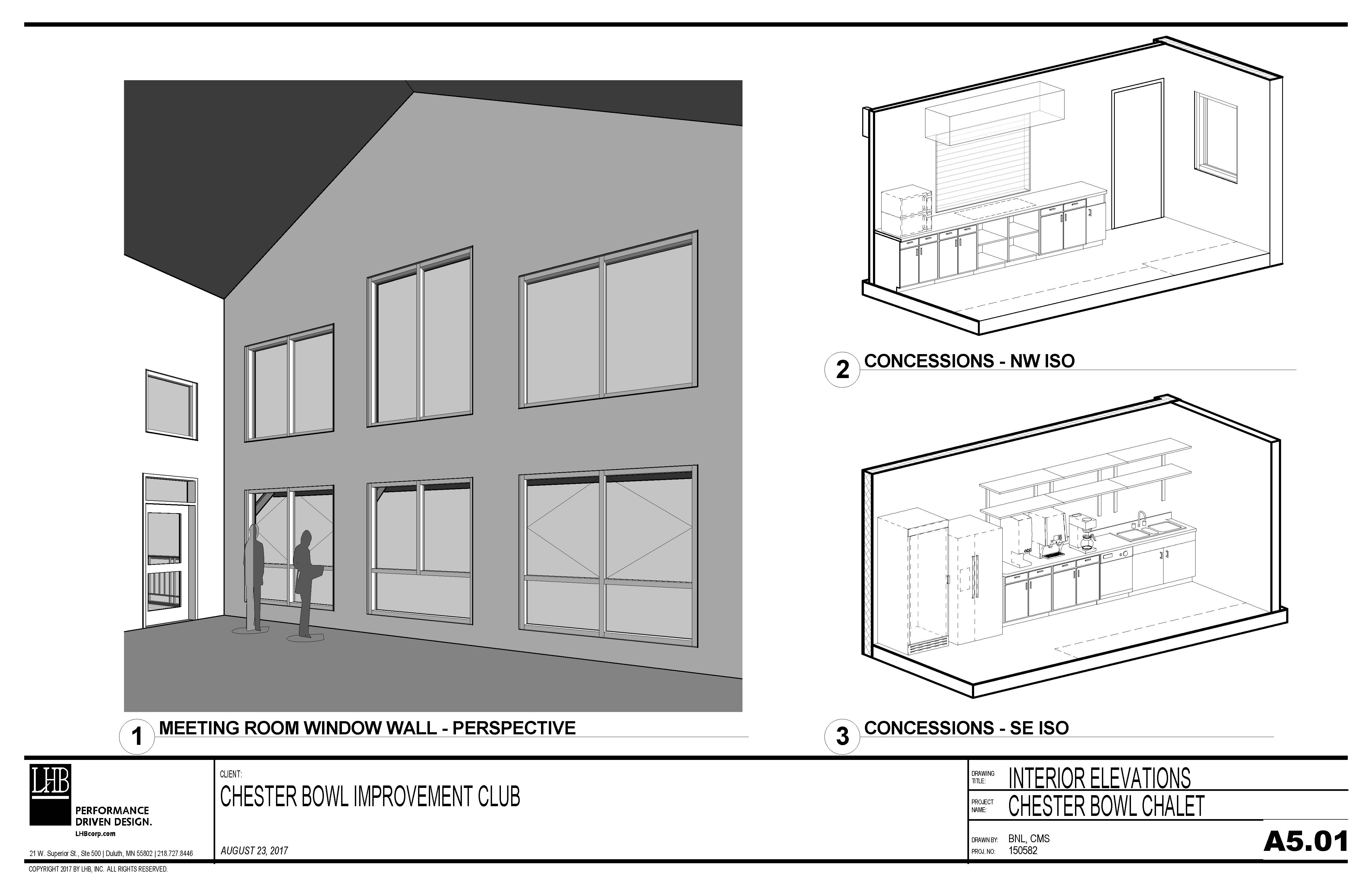 Draft plans for the main level and concessions at the Thom Storm Chalet.