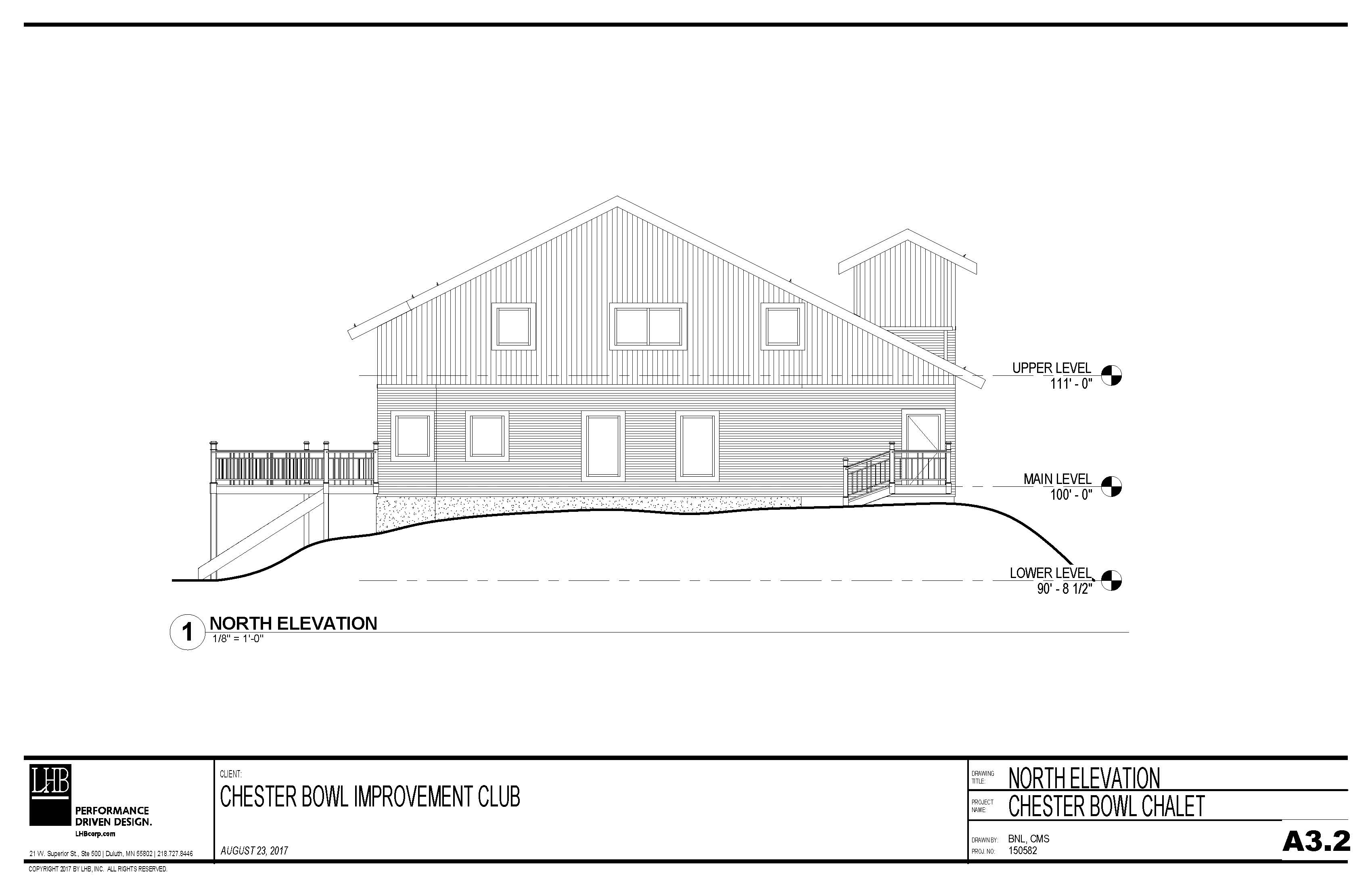 Draft plans for the exterior north side of the Thom Storm Chalet.
