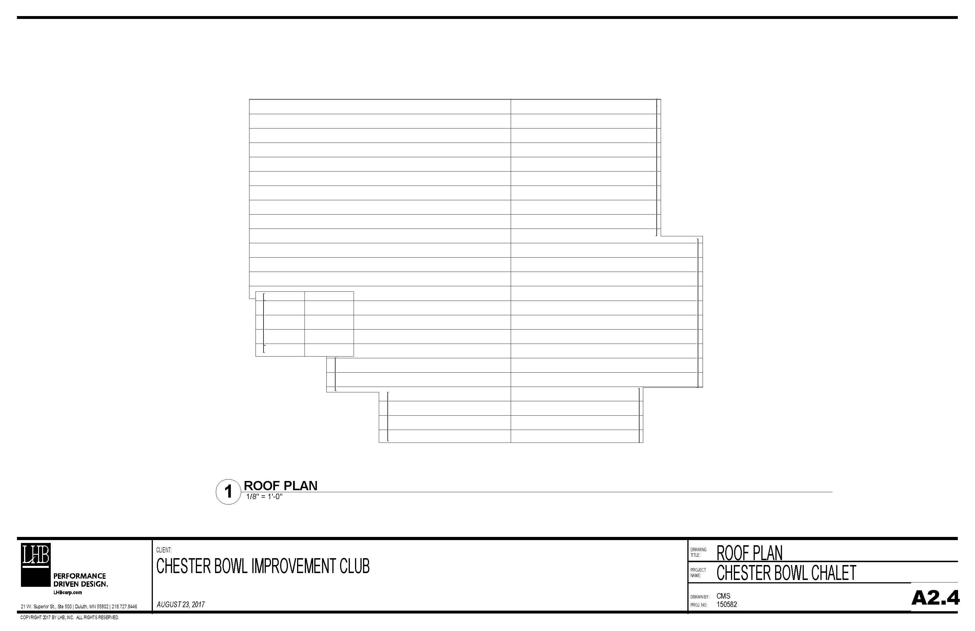Draft plans for the roof of the Thom Storm Chalet.