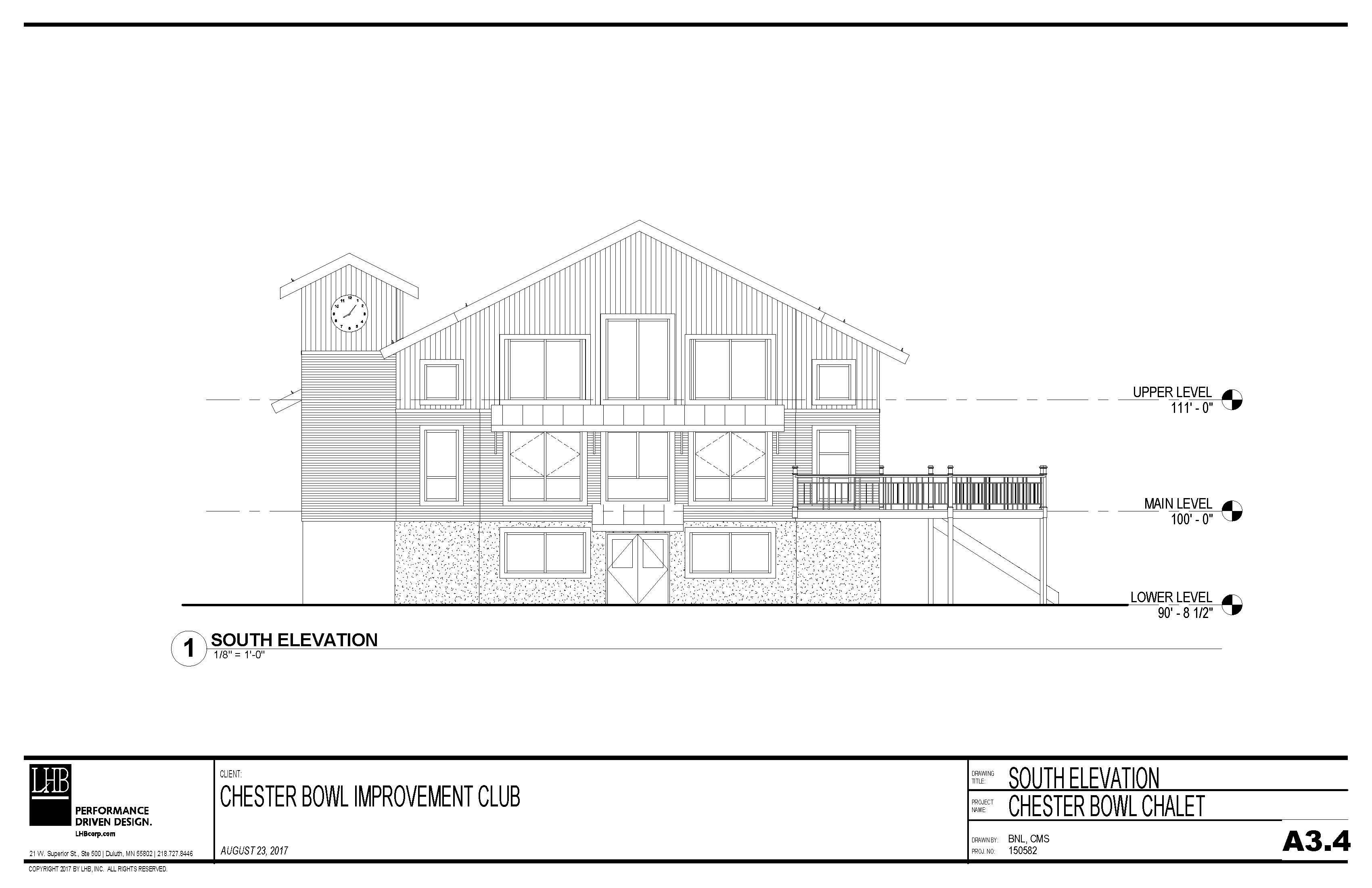Draft plans for the exterior south side of the Thom Storm Chalet.