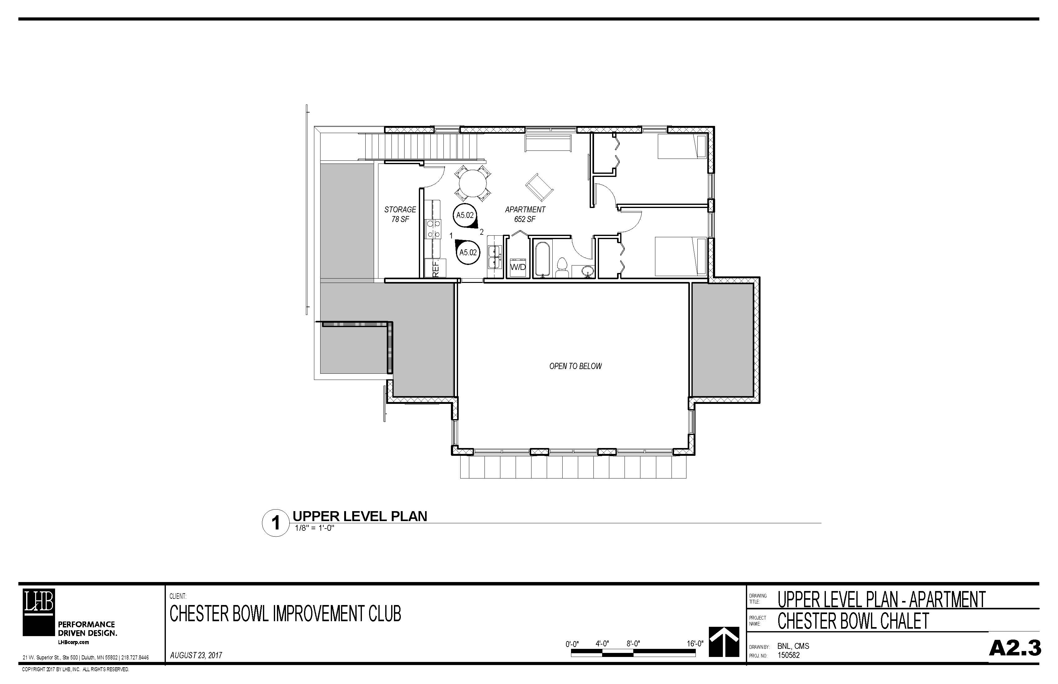 Draft plans for the upper level of the Thom Storm Chalet.