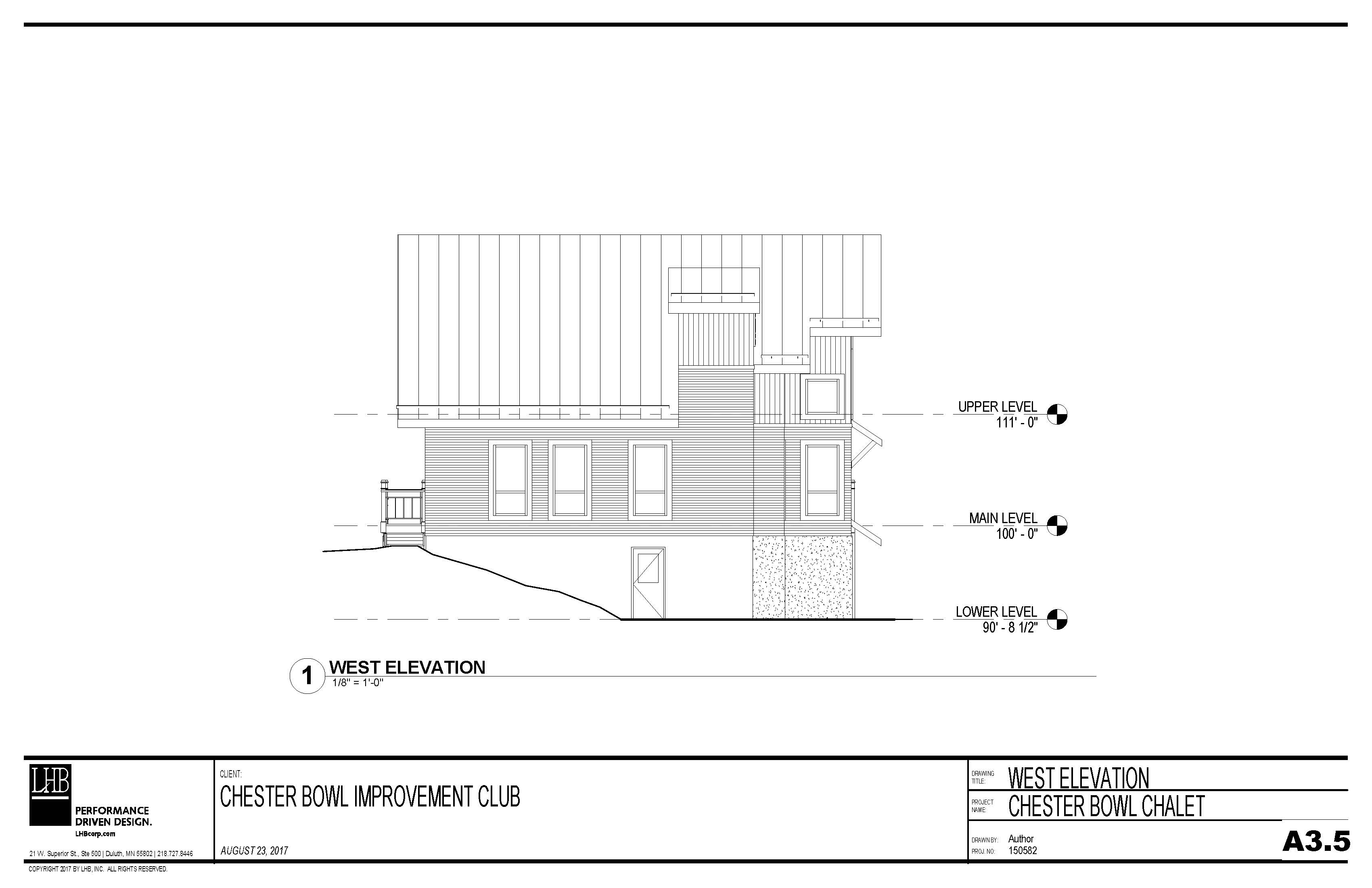 Draft plans for the exterior west side of the Thom Storm Chalet.