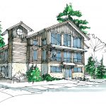 Archectictual drawing of the proposed chalet with a third floor and a clock tower housing an elevator shaft.